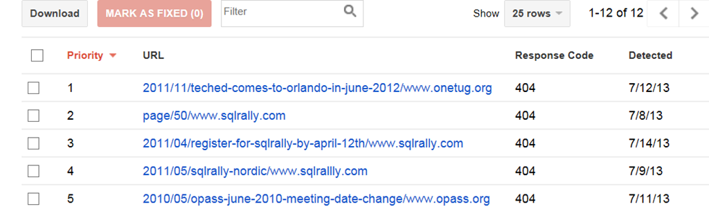 Fixing Bad Links Found Using Google Webmaster Tools | SQLAndy