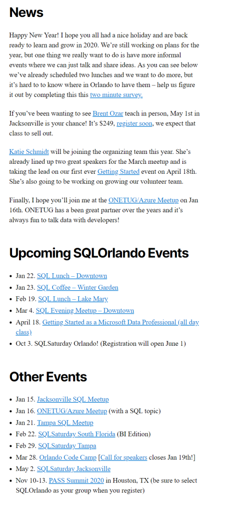 Building the Monthly Newsletter for SQLOrlando